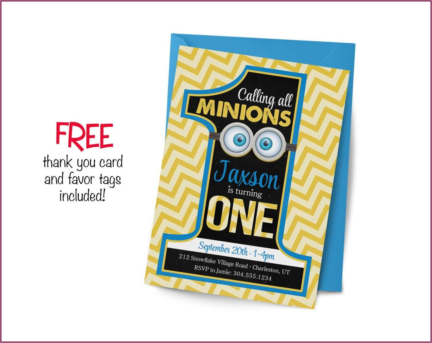 Minions First Birthday Invitation