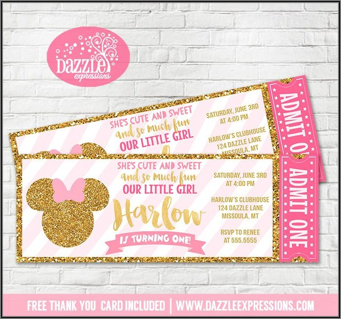Minnie Mouse 1st Birthday Invitation Ticket