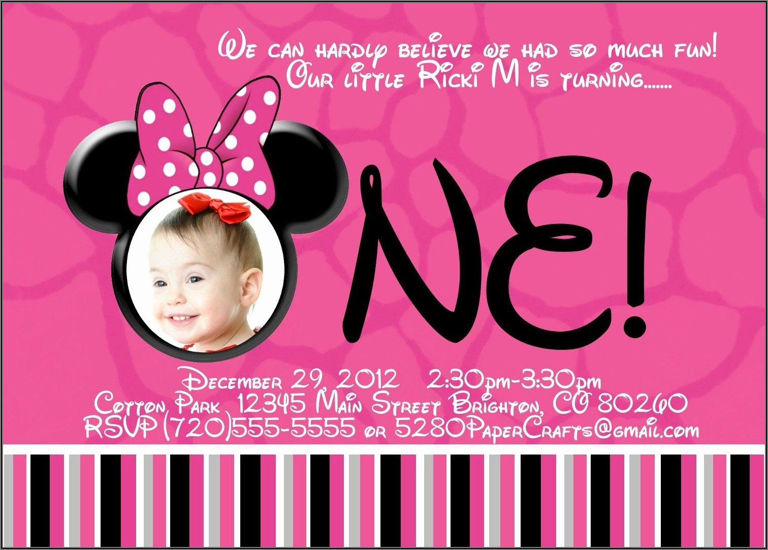 Minnie Mouse 1st Birthday Invitation Wording