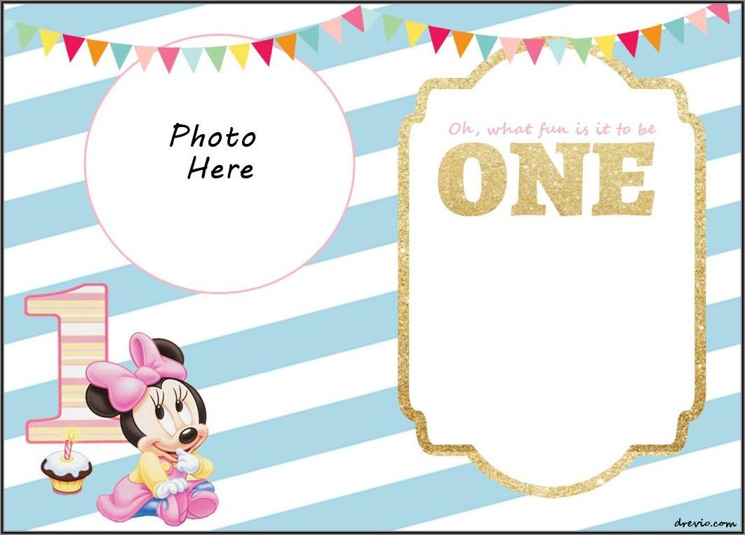 Minnie Mouse 1st Birthday Invitations Free Templates