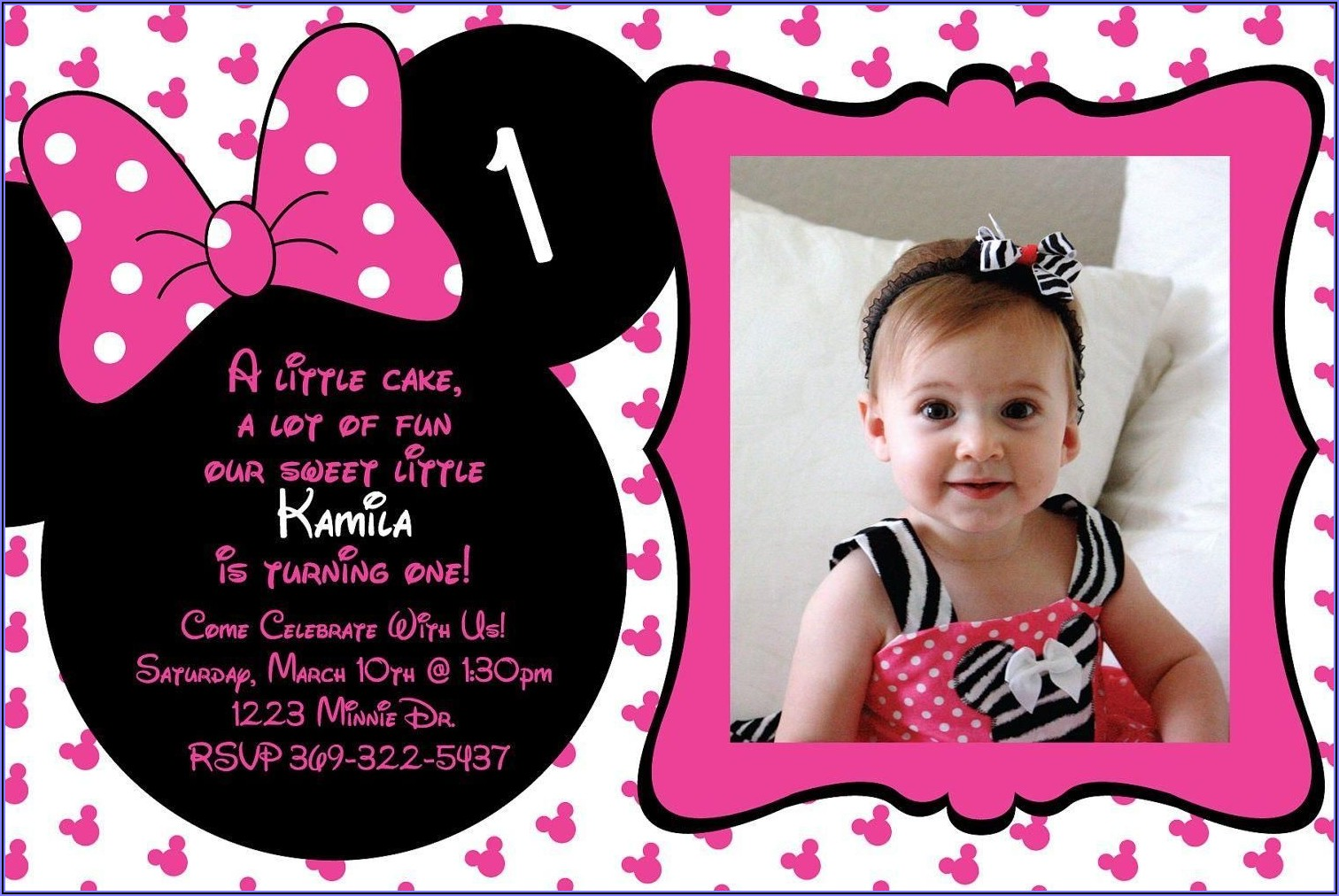 Minnie Mouse Pink And Gold Invitation Template