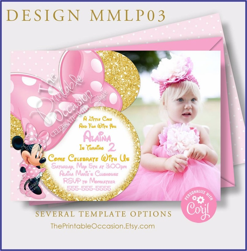 Minnie Mouse Pink And Gold Invitations