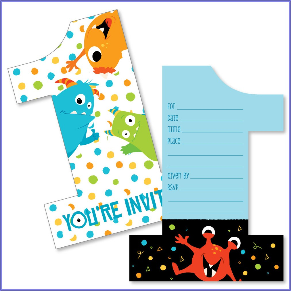 Monster 1st Birthday Invitations
