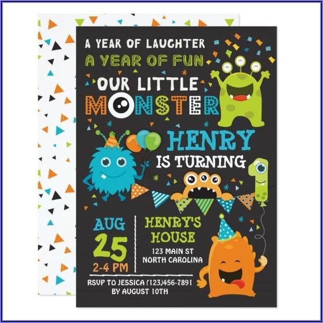 Monster First Birthday Invitations