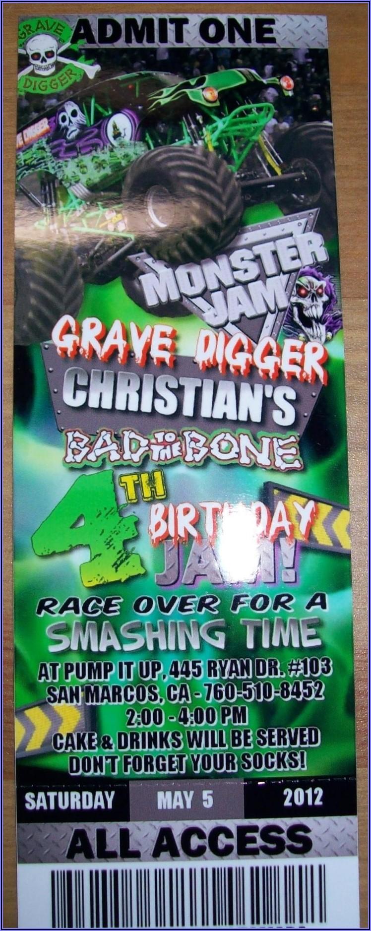 Monster Jam Birthday Invitation Template