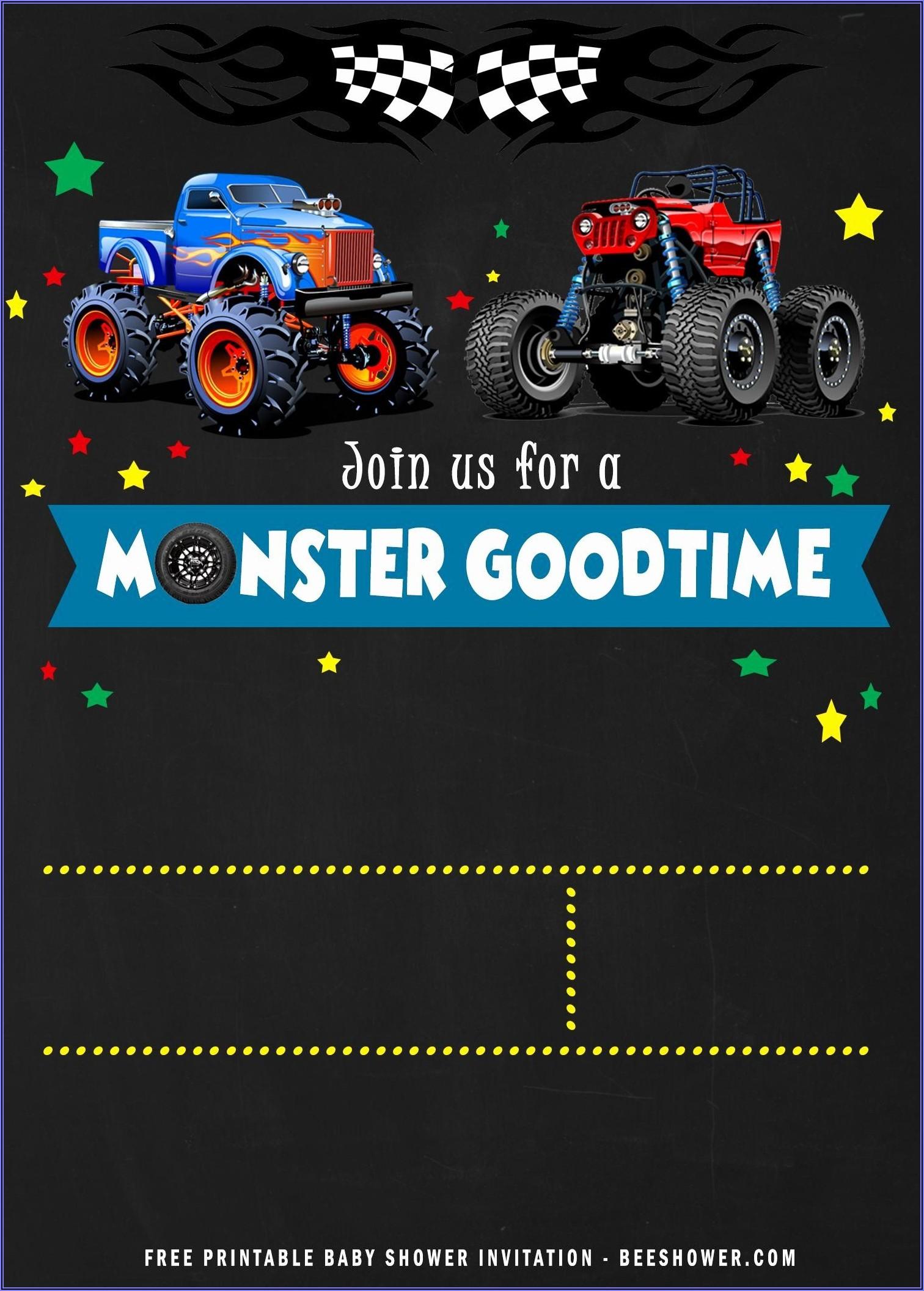 Monster Jam Birthday Invitations Free Printable