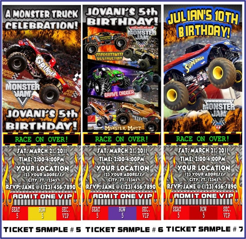 Monster Jam Truck Birthday Invitations