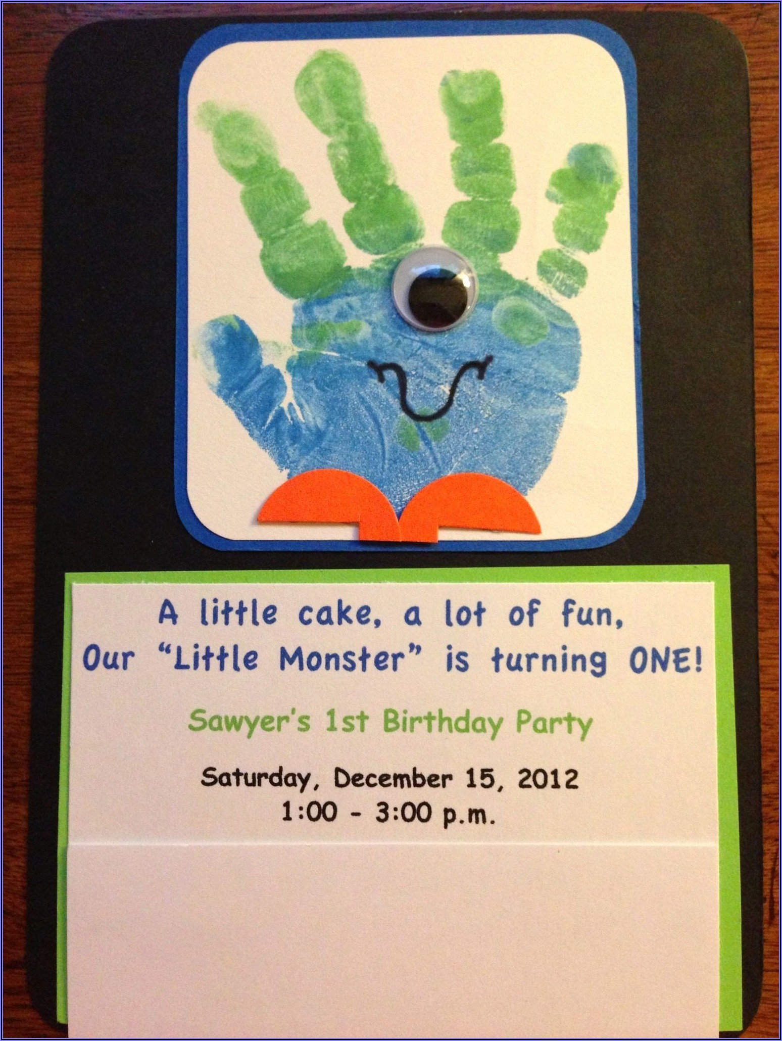 Monster Themed 1st Birthday Invitations