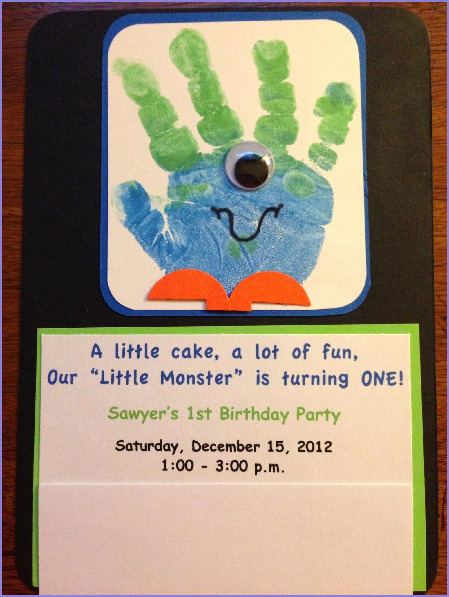 Monster Themed 1st Birthday Invitations