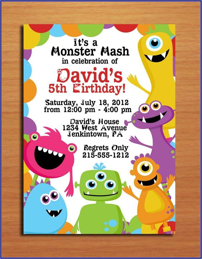 Monster Themed First Birthday Invitations