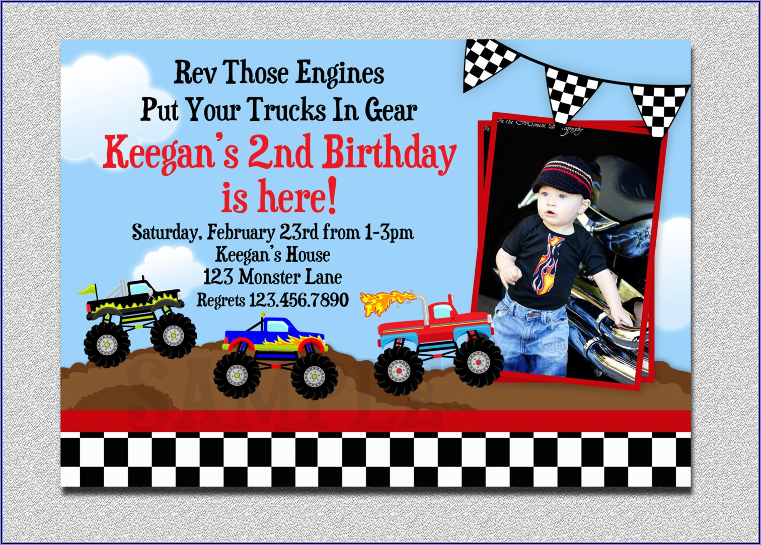 Monster Truck Birthday Invitation Template Free