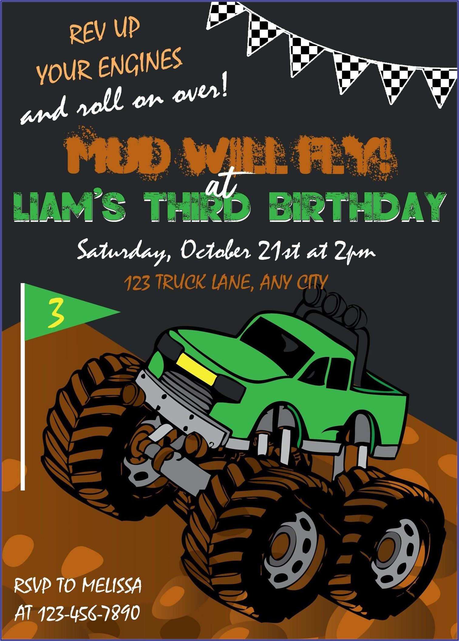 Monster Truck Birthday Invitations Party City