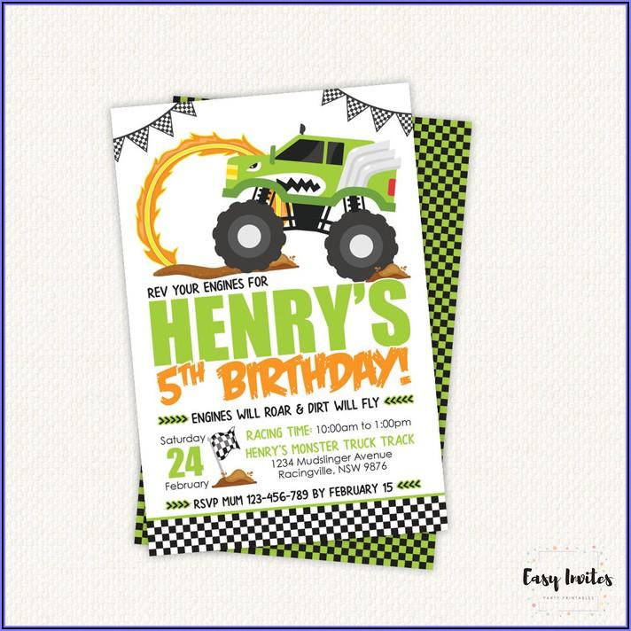 Monster Truck Birthday Invite