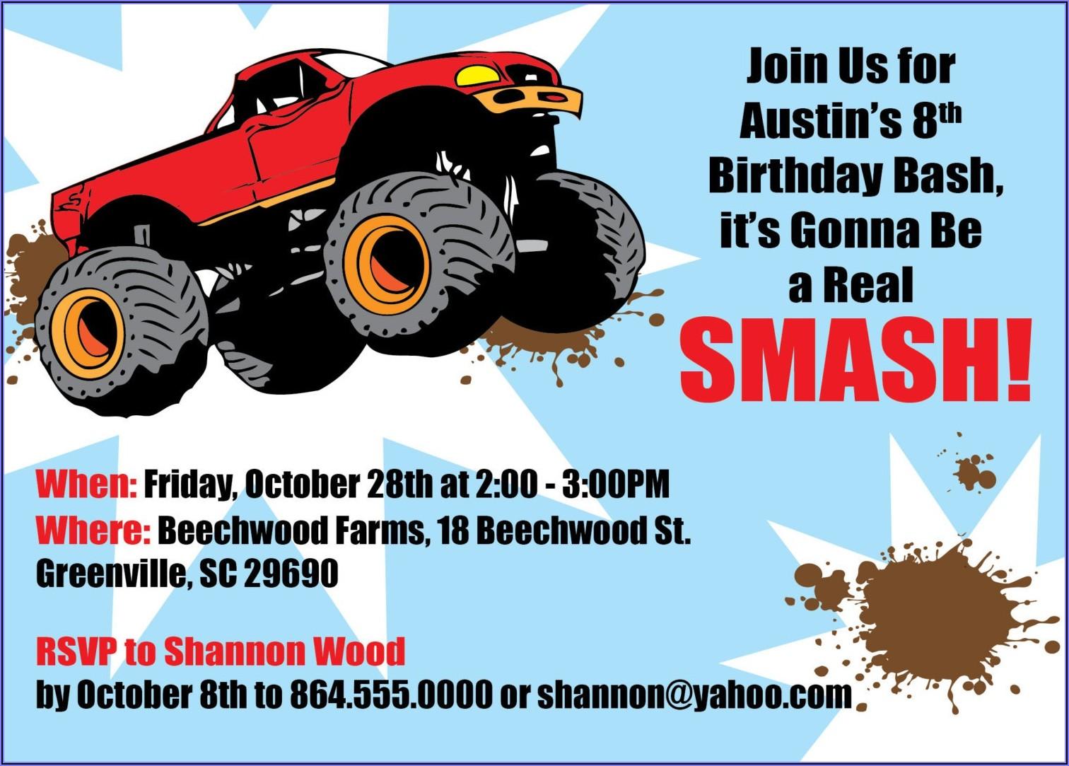 Monster Truck Birthday Party Invites