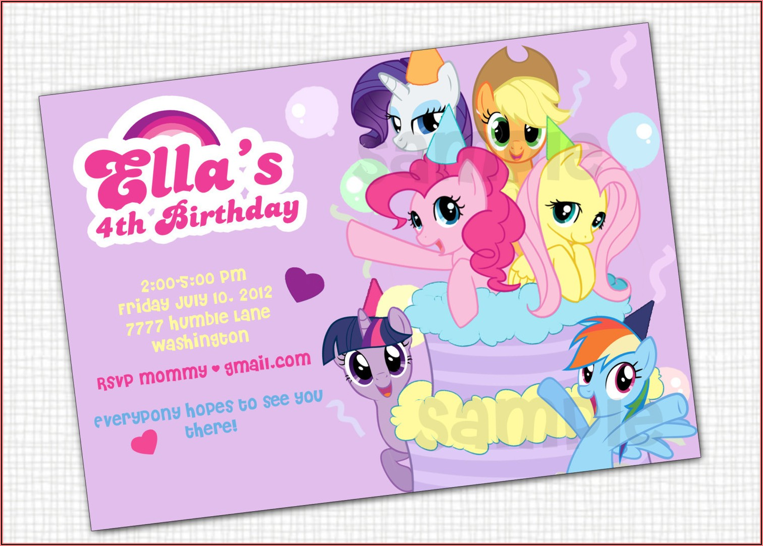 My Little Pony Birthday Invitation Ideas