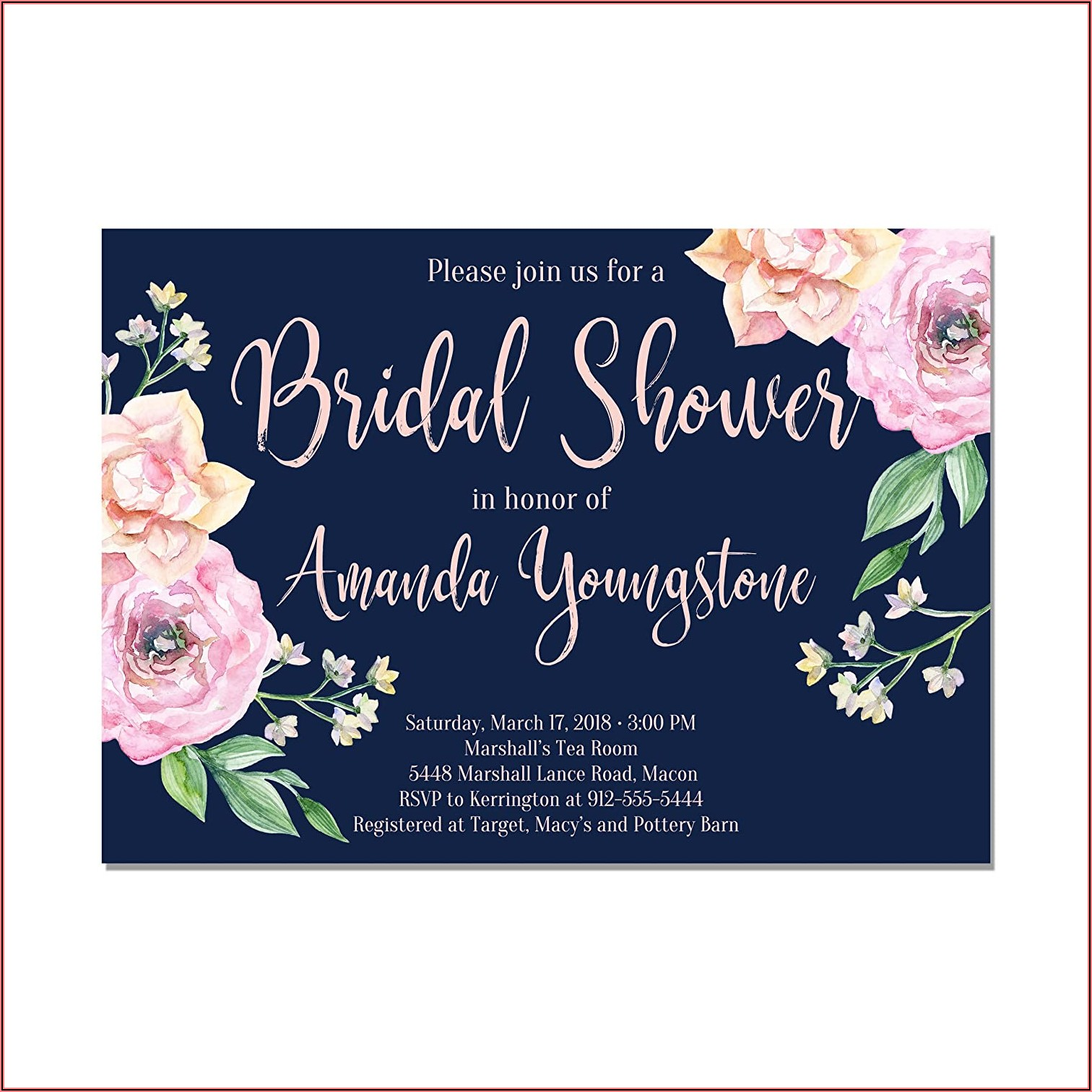Navy Blue And Blush Bridal Shower Invitations