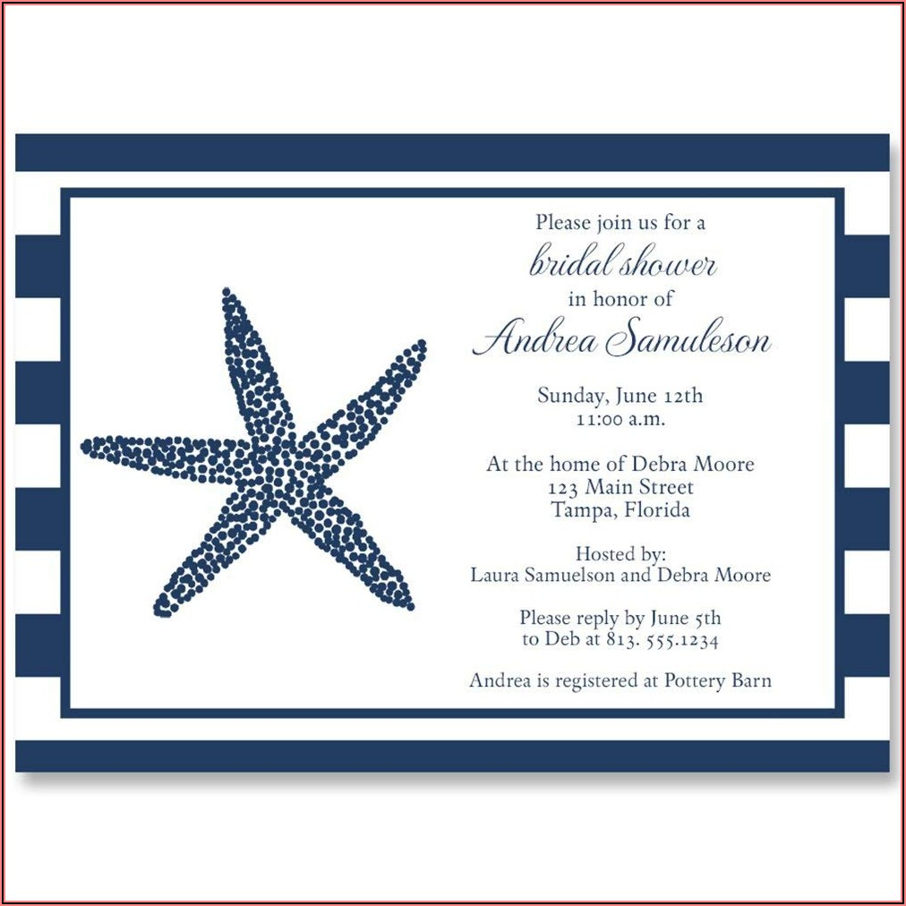 Navy Blue And Coral Nautical Wedding Invitations