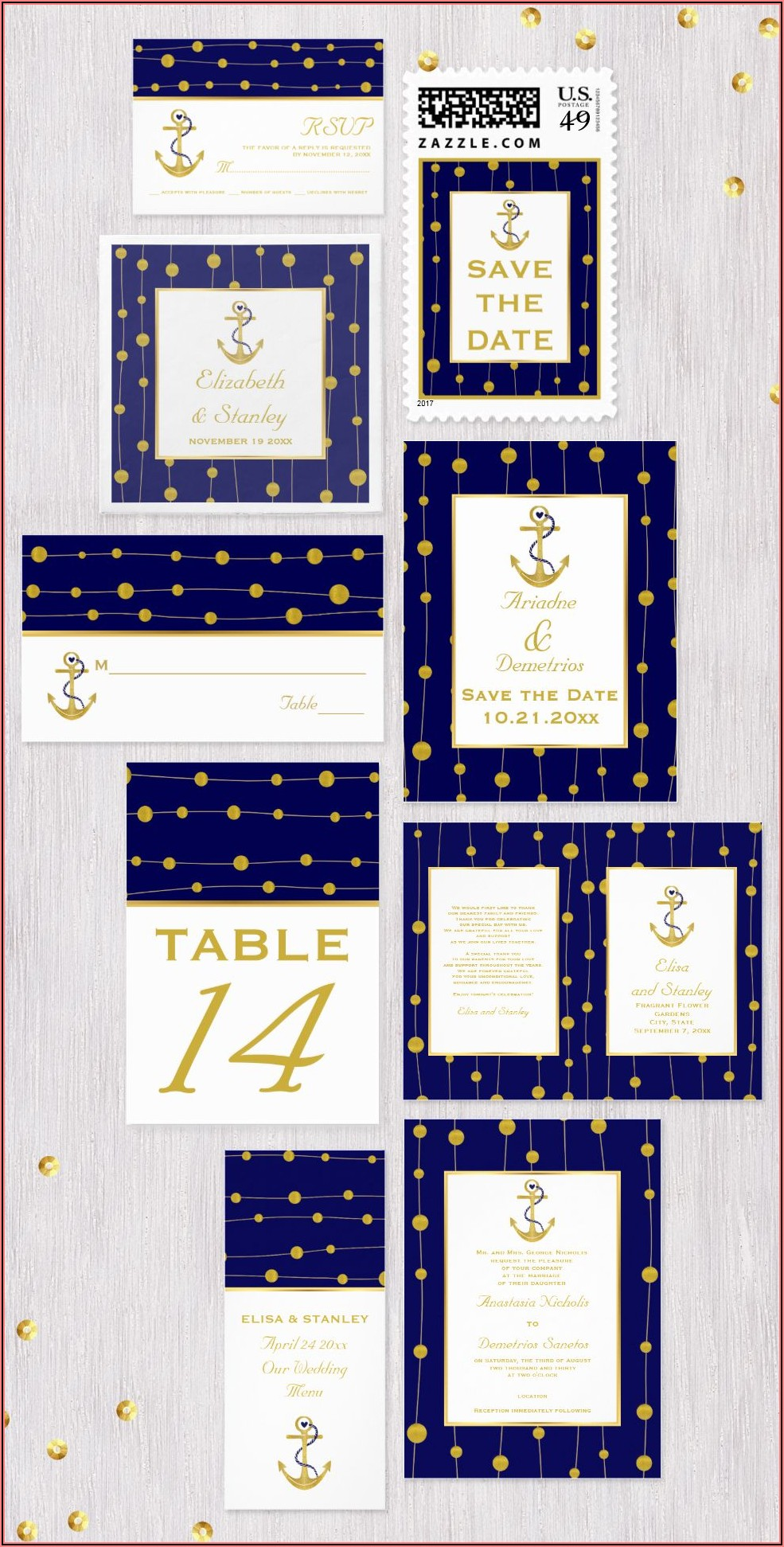 Navy Blue And Gold Foil Wedding Invitations