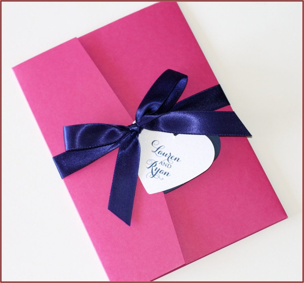 Navy Blue And Hot Pink Wedding Invitations