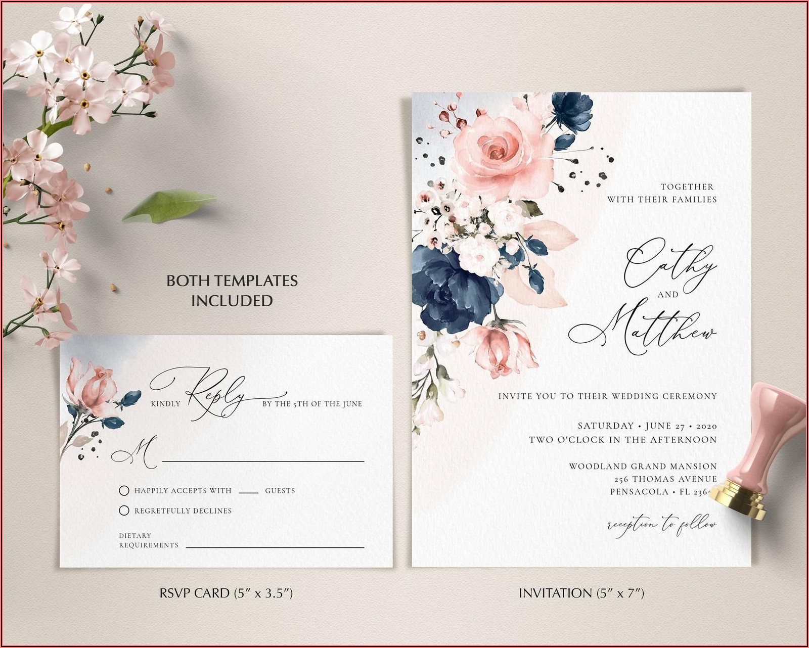 Navy Blue And Pink Wedding Invitation Card