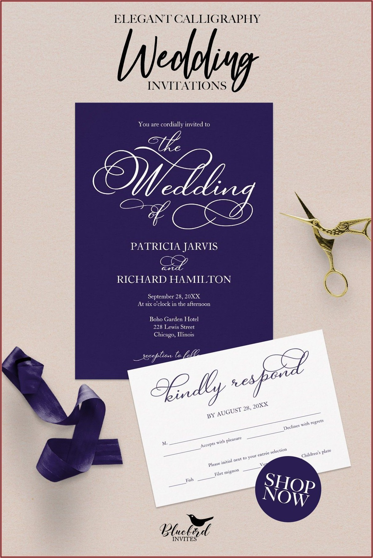 Navy Blue And White Wedding Invitations