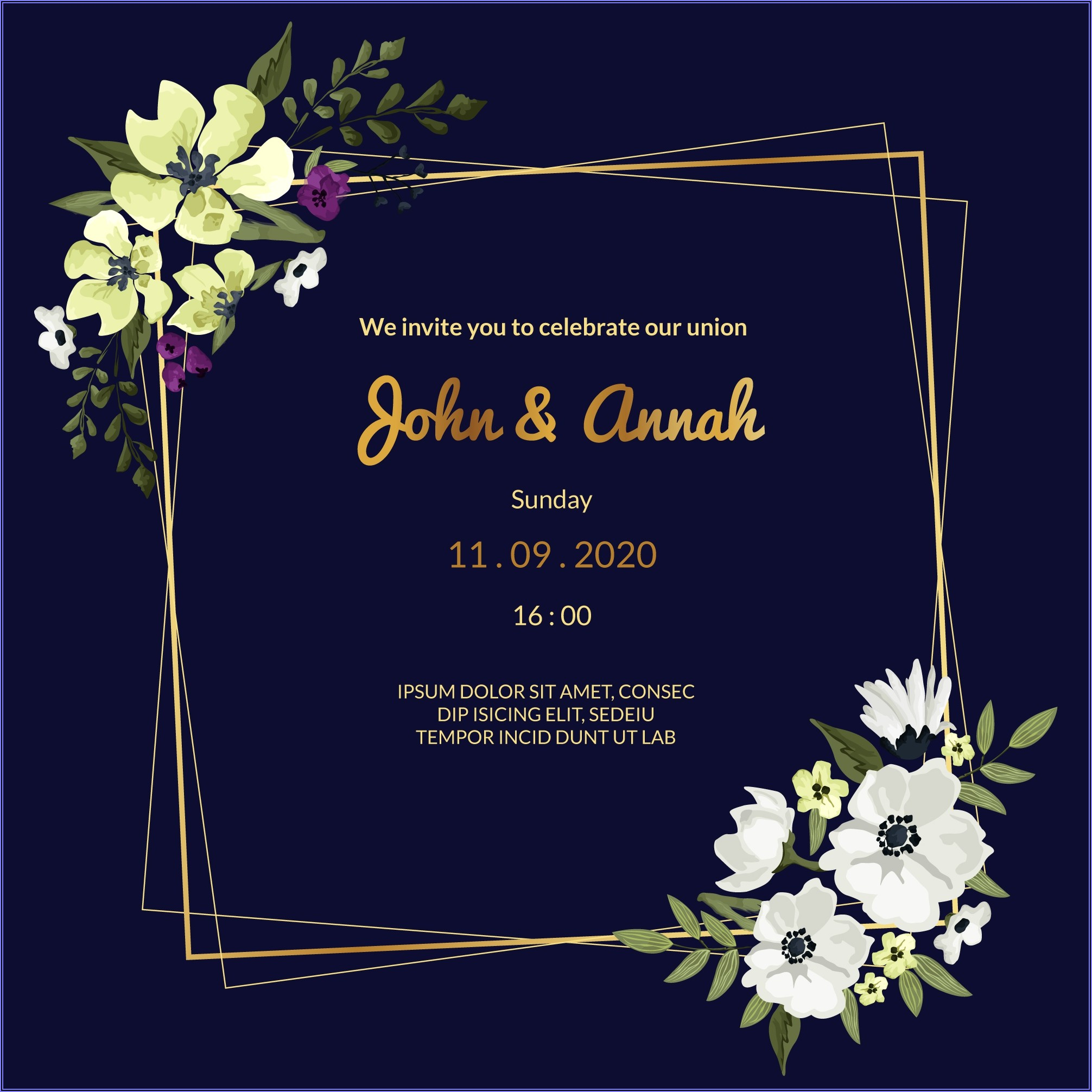 Navy Blue Wedding Invitation Background