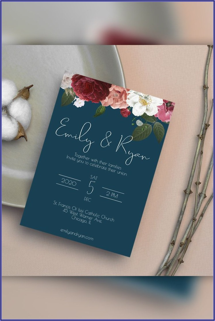Navy Blue Wedding Invitation Templates