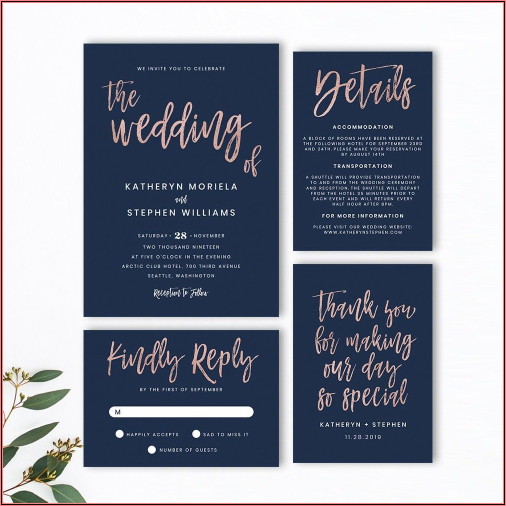 Navy Blue Wedding Invitations Templates