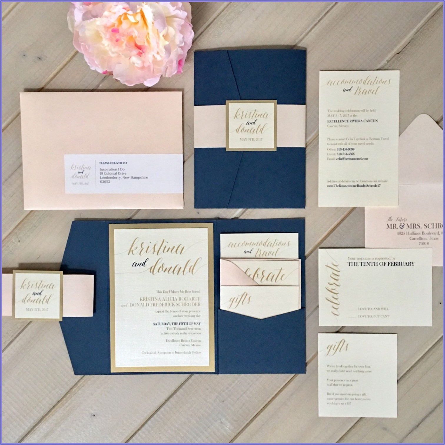 Navy Pink Gold Wedding Invitations