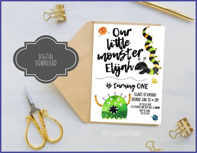Our Little Monster Birthday Invitations