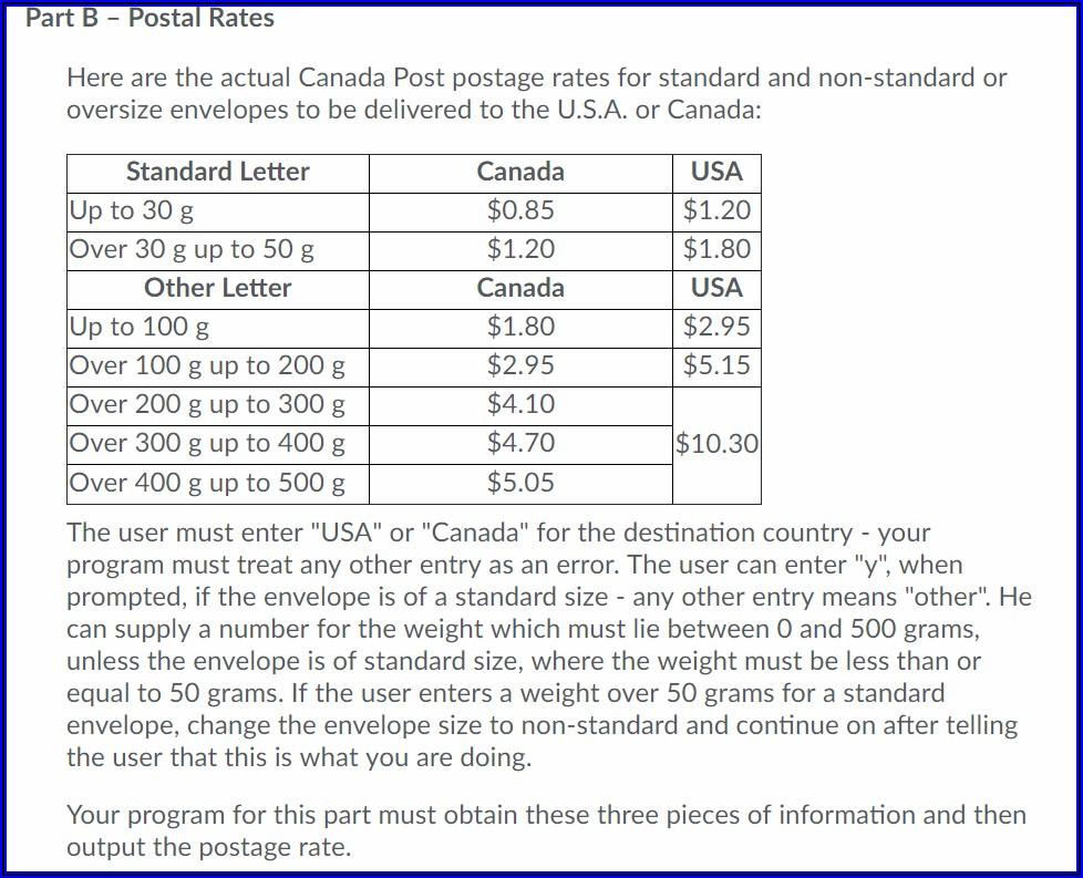 Oversized Envelope Postage Rates