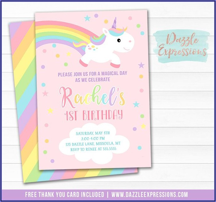 Pastel Rainbow 1st Birthday Invitations
