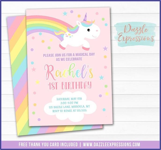 Pastel Rainbow 1st Birthday Invitations