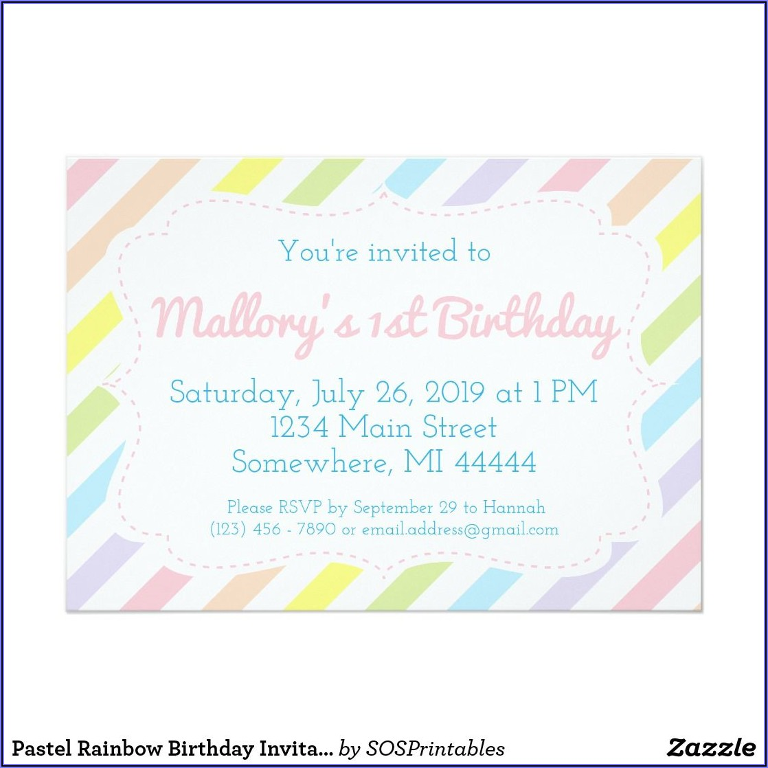 Pastel Rainbow Birthday Invitations