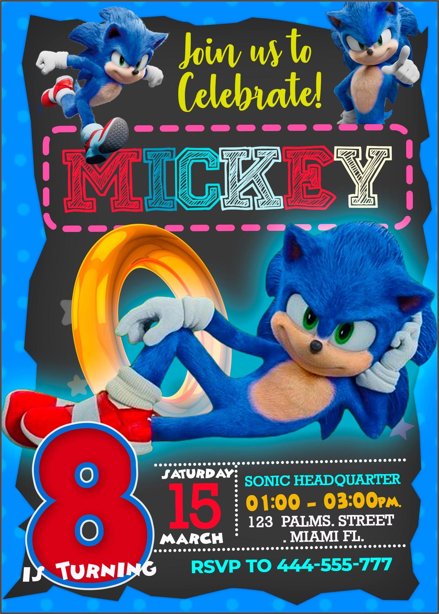 Personalized Sonic Birthday Invitations