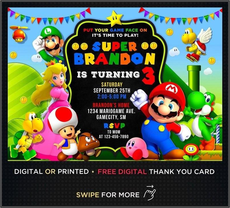 Personalized Super Mario Birthday Invitations Free