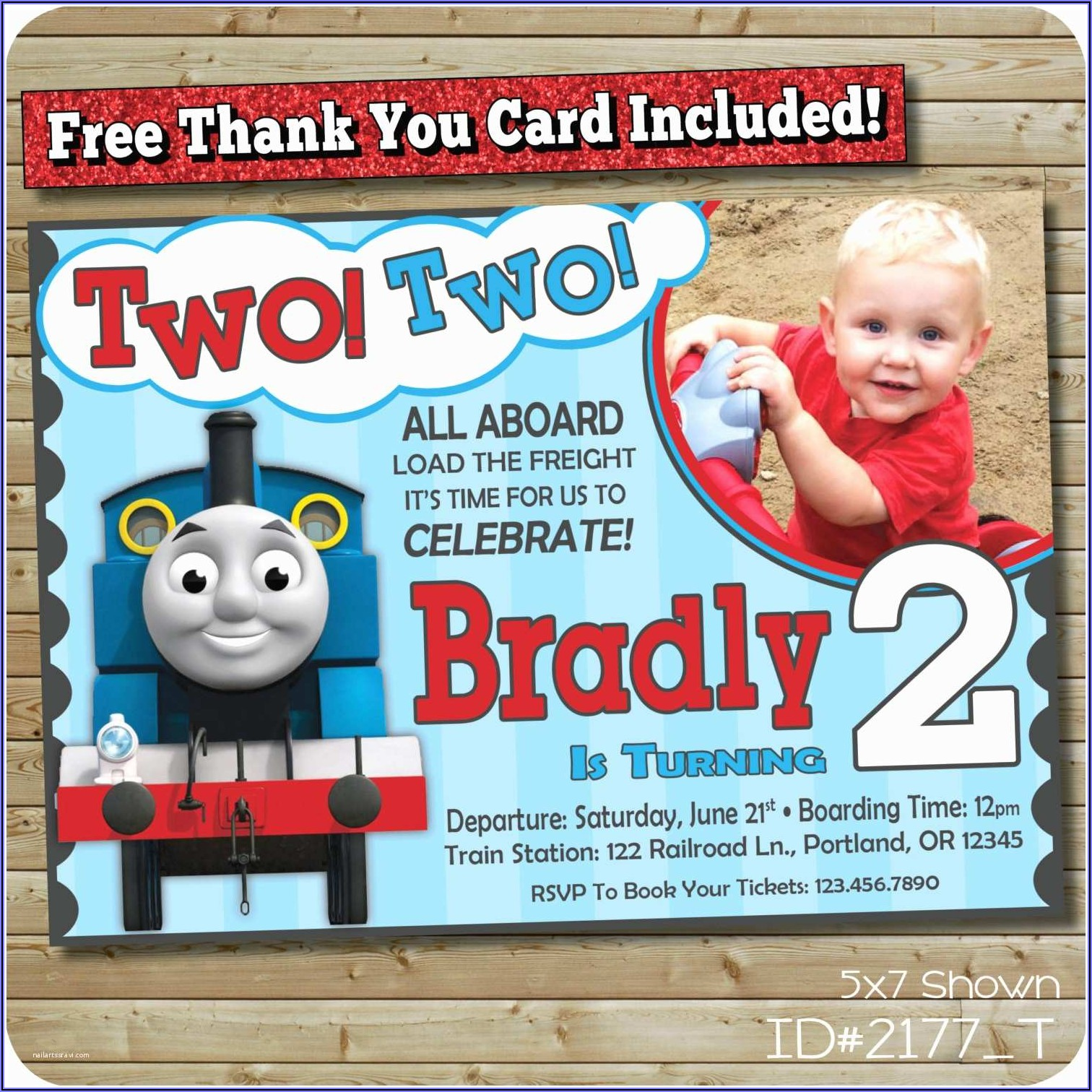 Personalized Thomas The Train Birthday Invitations