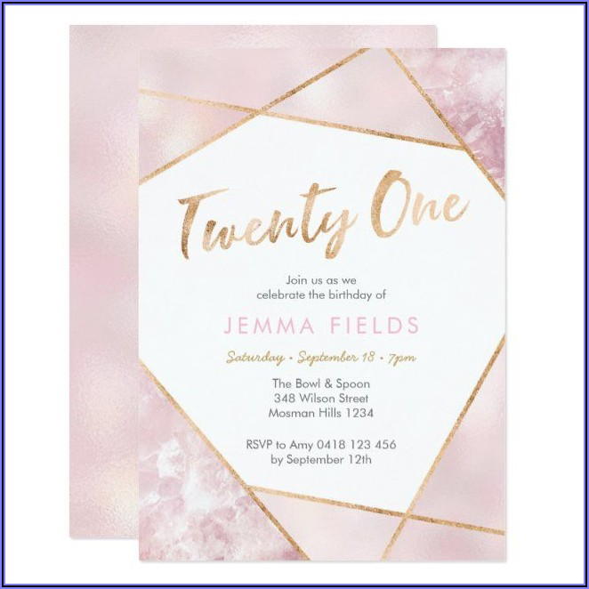 Pink And Gold 21st Birthday Invitations
