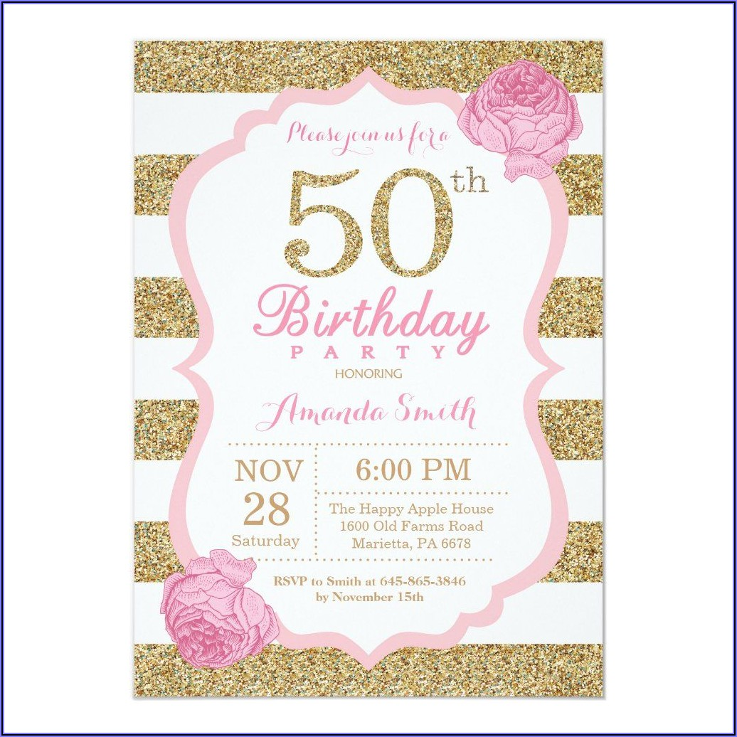Pink And Gold 50th Birthday Invitations