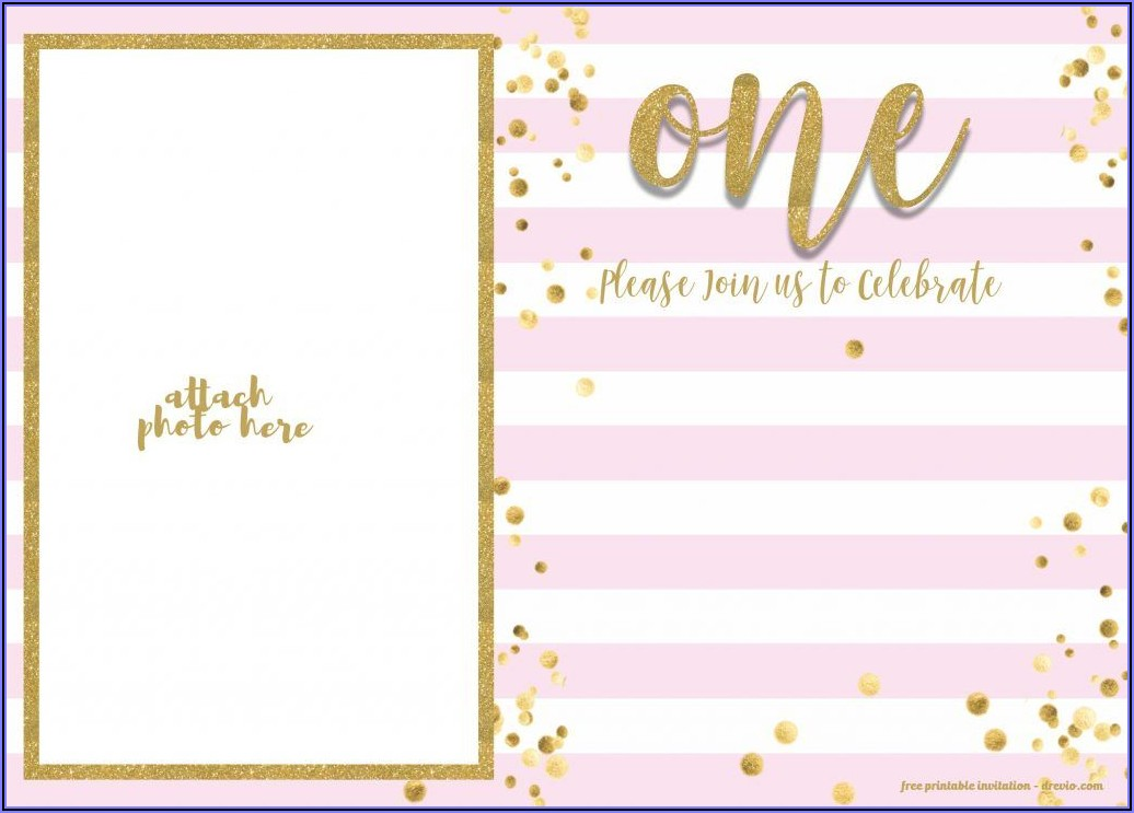 Pink And Gold Birthday Invitations Free