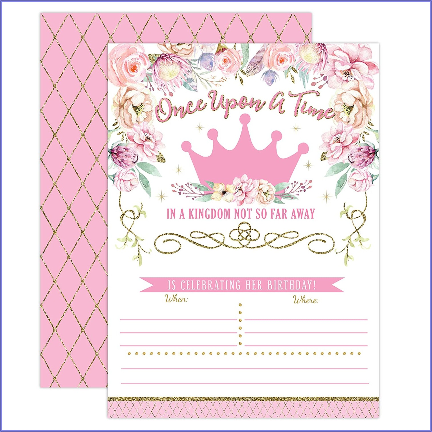 Pink And Gold First Birthday Invitations