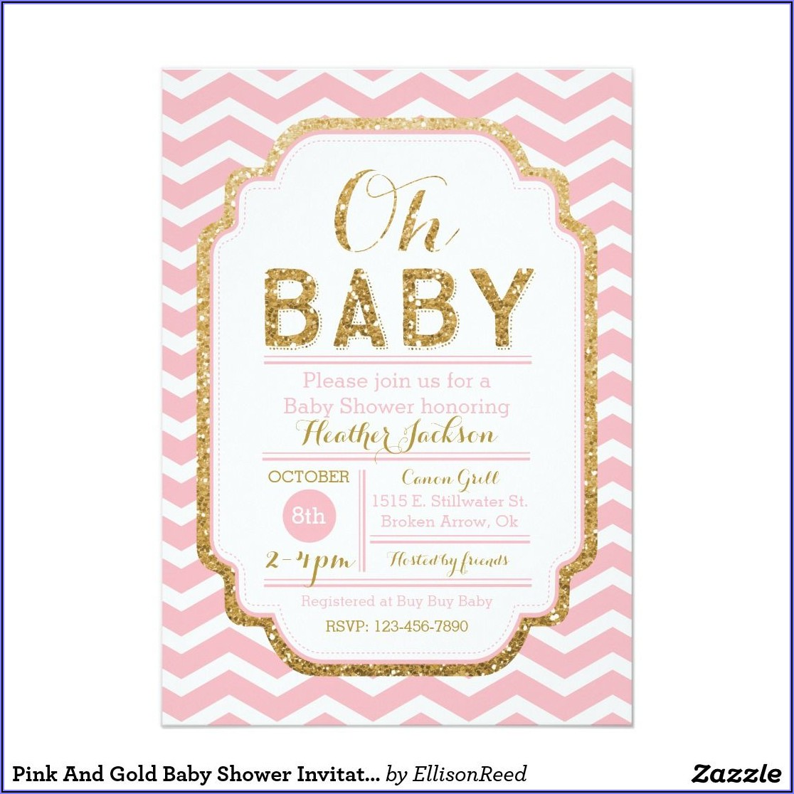 Pink And Gold Invitations Baby Shower