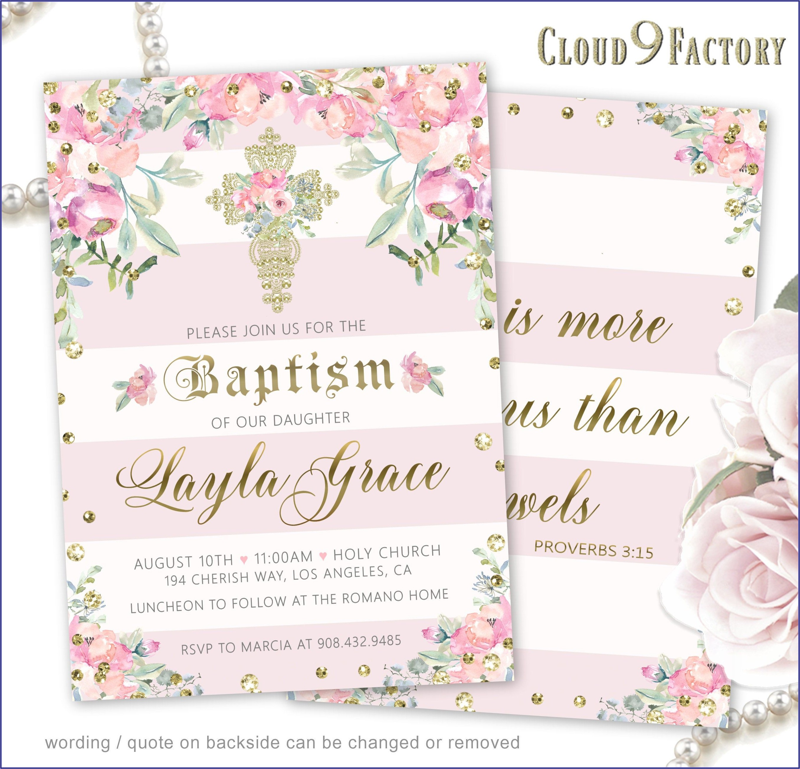 Pink And Gold Invitations Baptism
