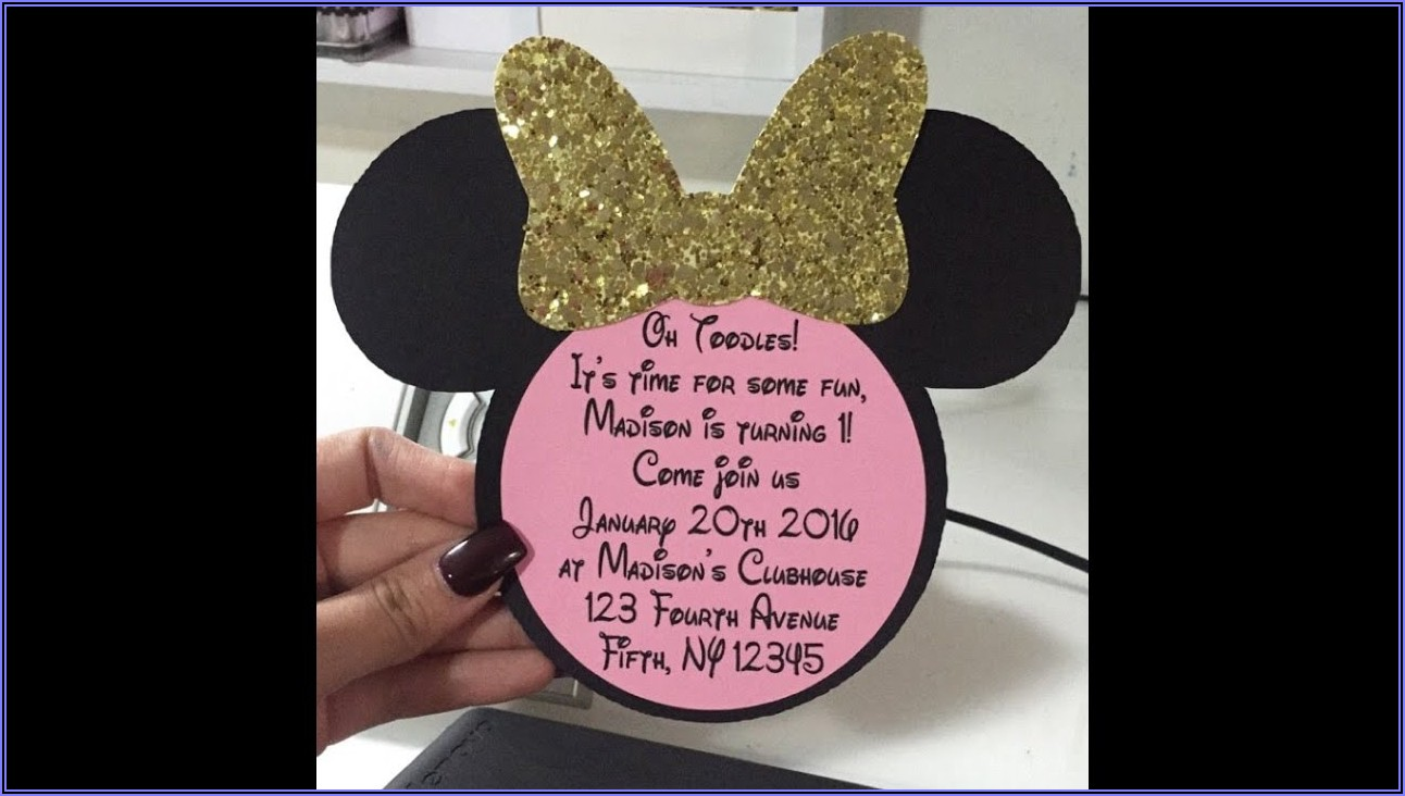 Pink And Gold Minnie Invitations