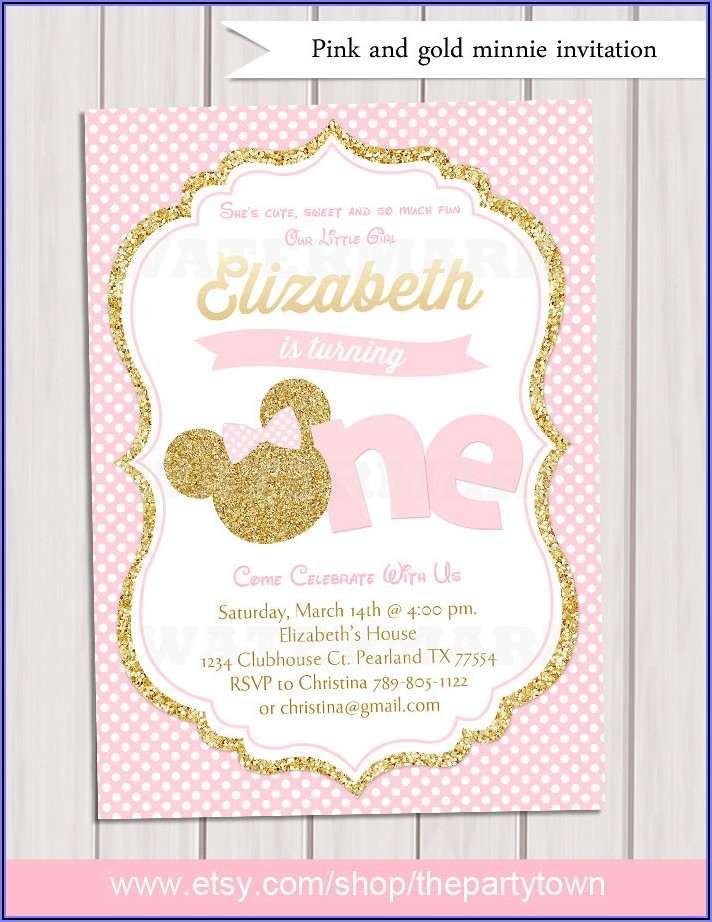 Pink And Gold Minnie Mouse 1st Birthday Invitations