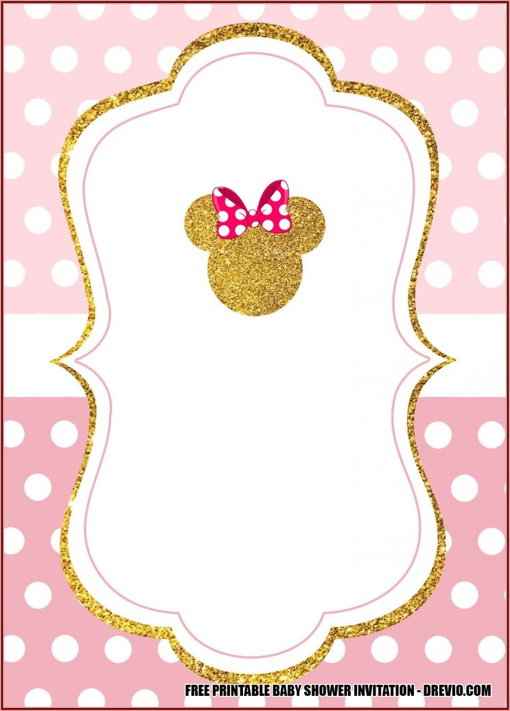 Pink And Gold Minnie Mouse Invitation Template Free