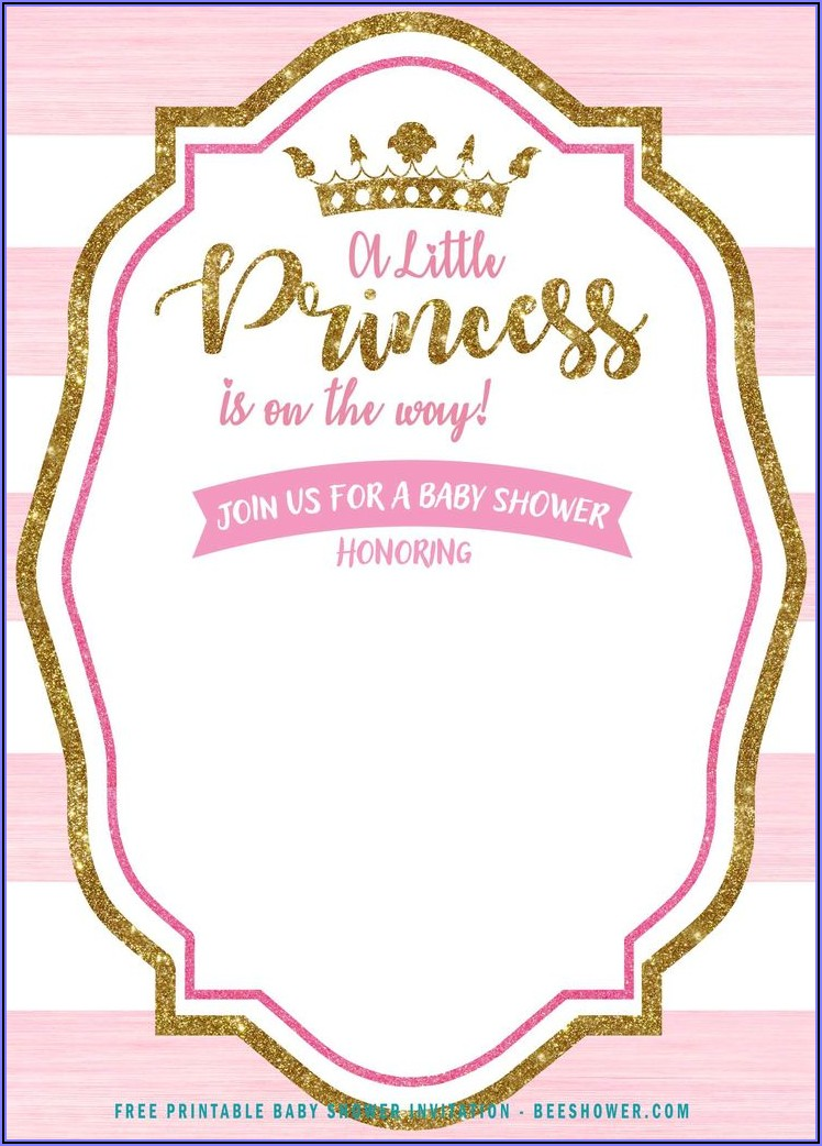 Pink And Gold Princess Invitation Template