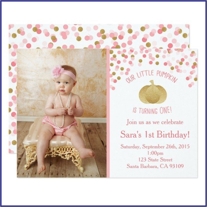 Pink And Gold Pumpkin First Birthday Invitations