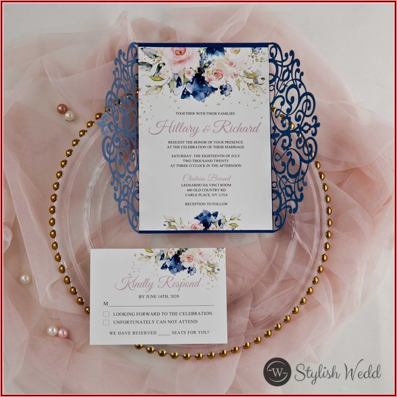 Pink And Navy Blue Wedding Invitations