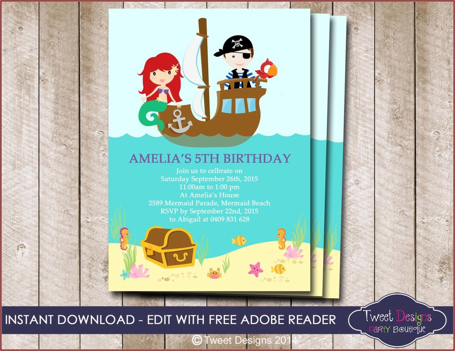 Pirate And Mermaid Invitation Template